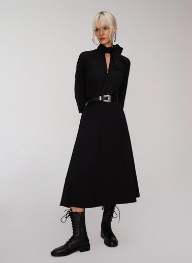 People By Fabrika Boyundan Bağlamalı Elbise Siyah